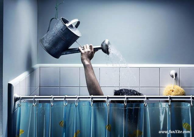 Illustration douche avec arrosoir