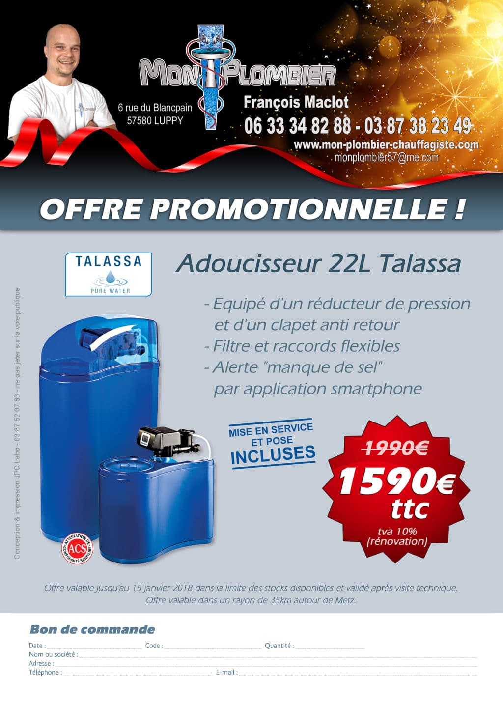 Promotion - Flyer Adoucisseur 22L Talassa
